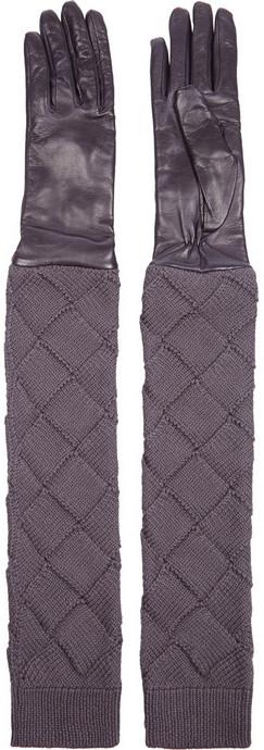 Bottega Veneta Long leather and intrecciato wool gloves