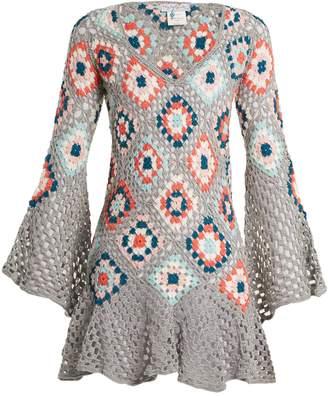 MY BEACHY SIDE Bisou V-neck crochet-knit cotton mini dress