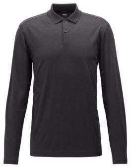 BOSS Hugo Slim-fit long-sleeved polo shirt in mercerized cotton XXL Open Grey