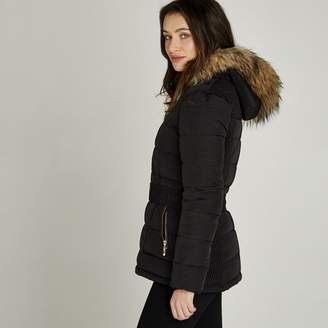 Apricot Black Removable Faux Fur Hood Puffer Jacket