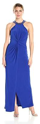Marina Women's Long Jersey Embellished Neck Gown
