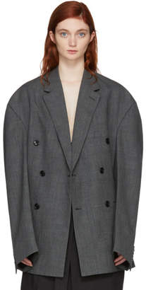 Vetements Grey Oversized Double-Breasted Check Blazer