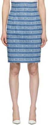 Balmain Blue Denim Logo Stripes Skirt