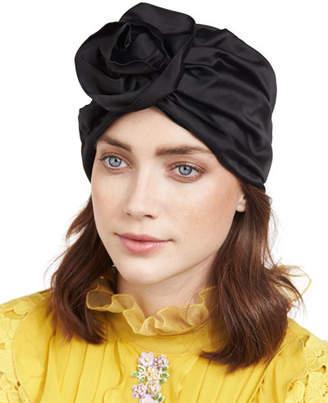 Jennifer Behr Rosette Silk Satin Turban Hat, Black