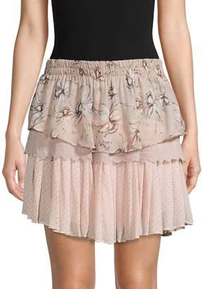 Allison New York Printed Tiered Mini Skirt