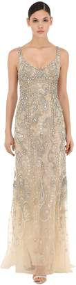 Roberto Cavalli Embellished Stretch Tulle Long Dress