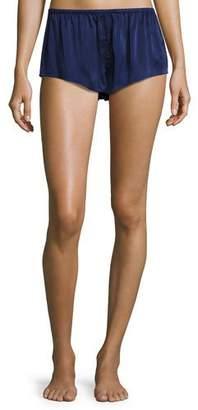Asceno Silk-Satin Pajama Shorts, Navy