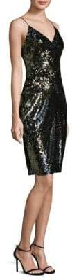 Aidan Mattox Spaghetti Strap Sequined Shift Dress