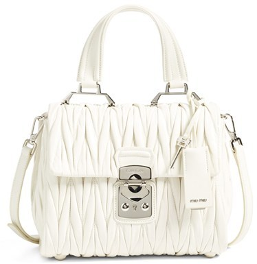 Miu MiuMiu Miu Small Matelasse Leather Satchel - White