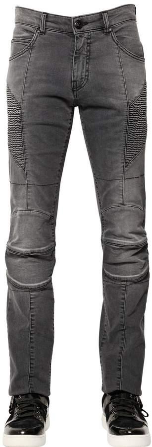 Pierre Balmain 16cm Faded Stretch Denim Biker Jeans