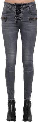 Unravel Cotton Denim Lace Up Skinny Jeans