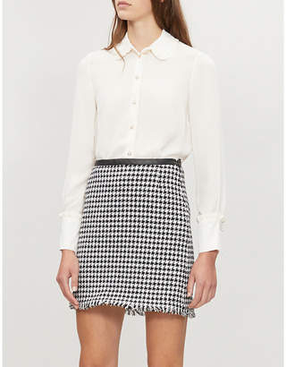 Claudie Pierlot Houndstooth-patterned A-line cotton-blend skirt