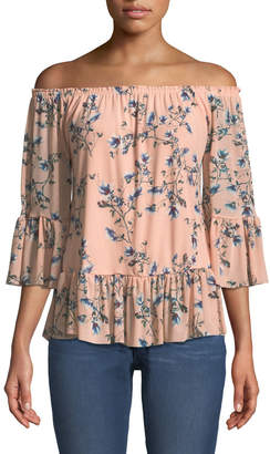 West Kei Off-The-Shoulder Floral Mesh Blouse