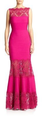 Tadashi Shoji Lace-Trimmed Sleeveless Mermaid Gown $428 thestylecure.com