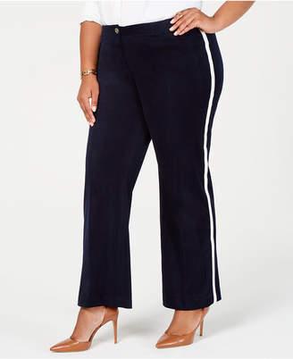Tommy Hilfiger Plus Size Velvet Varsity-Stripe Pants