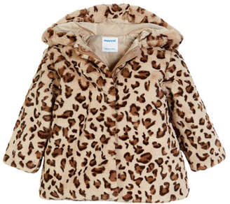 Mayoral Leopard-Print Faux-Fur Coat, Size 3-7