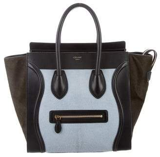 Celine Tricolor Ponyhair Mini Luggage