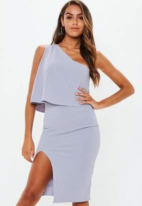Missguided Grey One Shoulder Bow Midi Dress