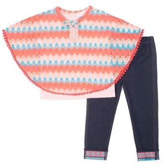 Little Lass Chevron Knit Poncho, Tee and Knit Denim Legging, 3-Piece Outfit Set (Little Girls)