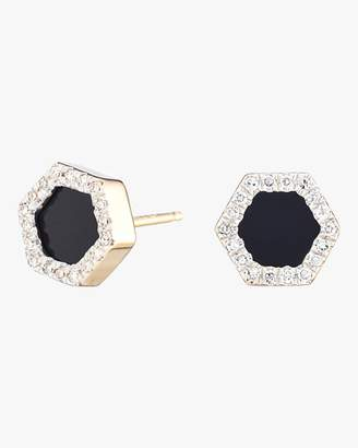 Adina Onyx and Diamond Hexagon Post Earrings
