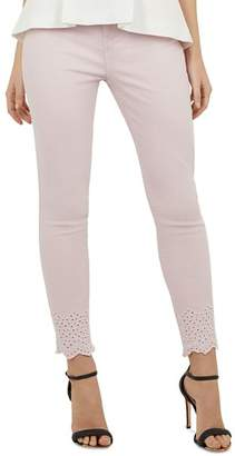 Ted Baker Massiee Embroidered-Hem Skinny Jeans in Nude Pink