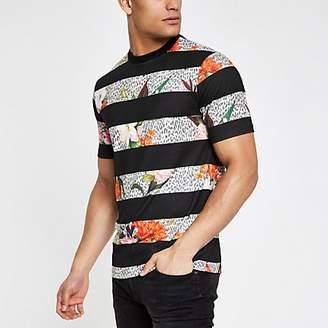 8036570b1ffc7d River Island Black floral leopard stripe slim fit T-shirt