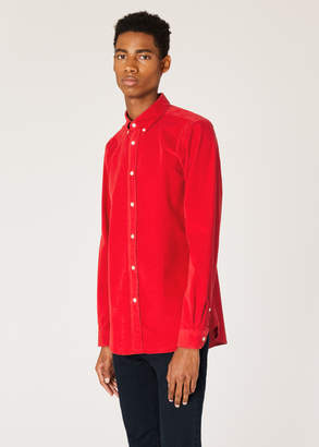 Paul Smith Men's Tailored-Fit Red Corduroy Shirt
