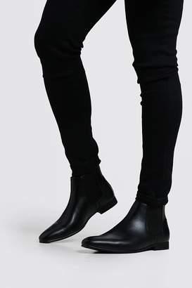 boohoo Black Leather Look Chelsea Boots