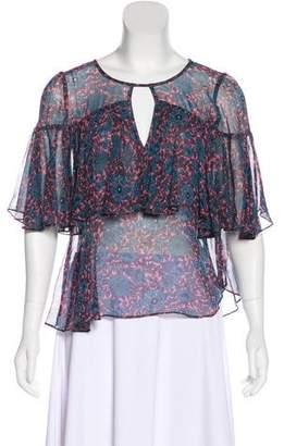 Rebecca Taylor Floral Print Short Sleeve Blouse
