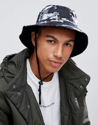 Asos DESIGN Safari Bucket Hat In Navy Camo