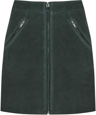 6ac7236d7a Reiss Terri - Suede Mini Skirt in Forest Green