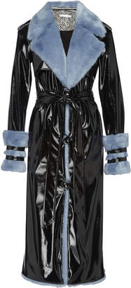 Eleanor Balfour Exclusive Serena Faux Fur-Trimmed and Vinyl Trench Coat