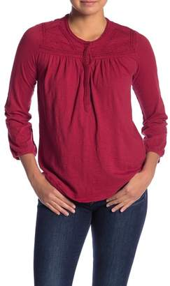 Lucky Brand Embroidered 3/4 Sleeve Henley