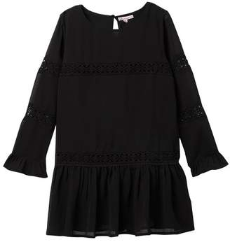 Ella Moss Crinkle Chiffon Lace Dress (Big Girls)