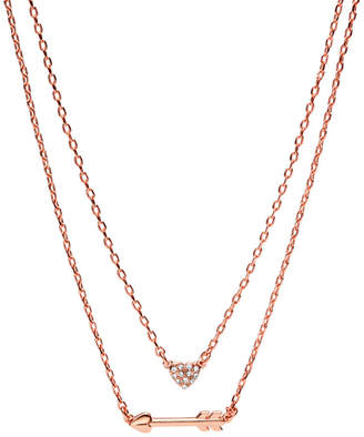 Fossil Heart Rose Gold-Tone Brass Convertible Necklaces