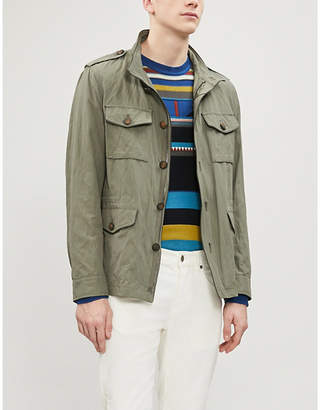 Etro Leather-piped cotton-blend jacket
