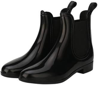 Leroy Alexis Womens Short Chelsea Ankle Elastic Design Round Toe Slip On Puddle Rain Boots