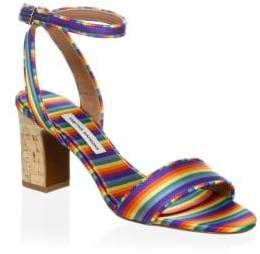 Tabitha Simmons Leticia Rainbow Stripe Sandals