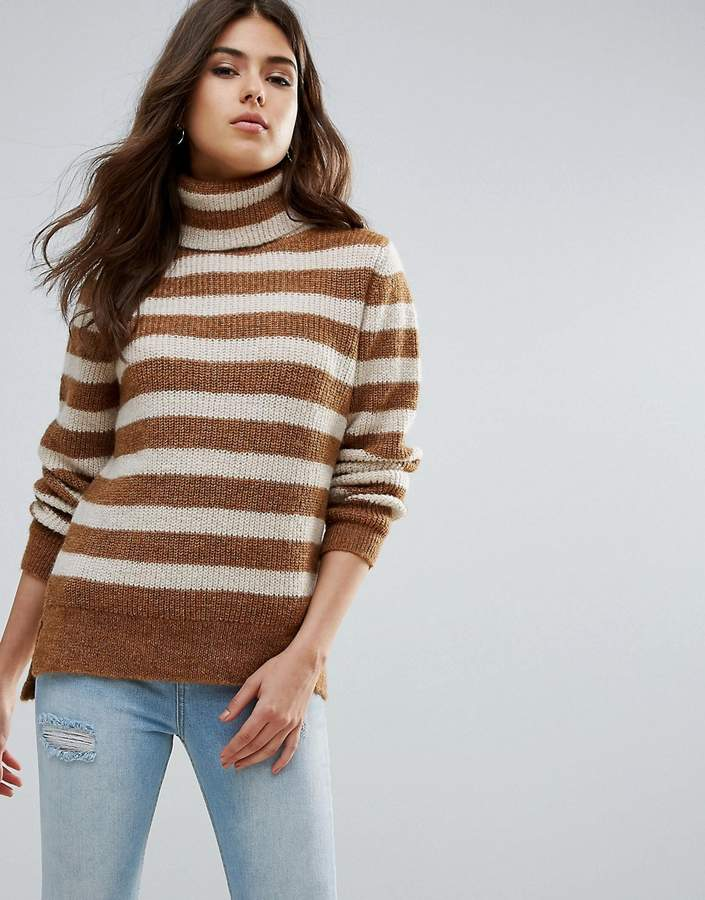 Pieces Hella Striped Rollneck Mohair Wool Blend Knit Sweater