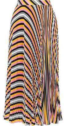 MSGM Pleated Striped Crepe De Chine Midi Skirt