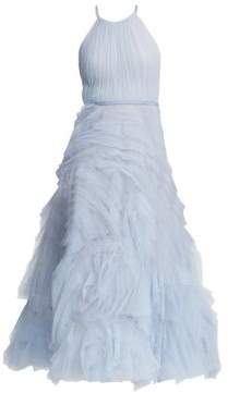 Marchesa Cutout Tulle Fit-And-Flare Dress