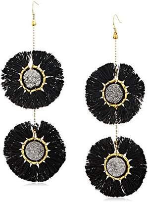 Panacea Silver Drusy Fringe Circle Drop Earrings