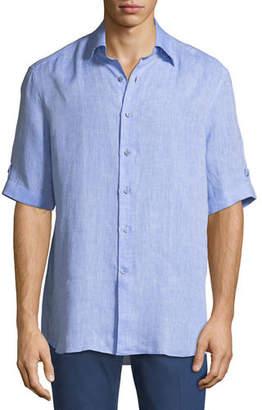 Stefano Ricci Linen Short-Sleeve Sport Shirt