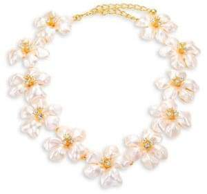 Kenneth Jay Lane Crystal& Faux-Pearl Flower Necklace