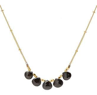 Satya Jewelry Women's Onyx Gold Multi Drop Necklace 18-inch