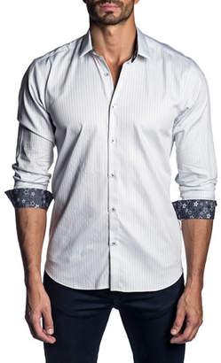 Jared Lang Men's Long-Sleeve Stripe Sport Shirt
