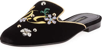 Dolce & Gabbana Jackie Flat Velvet Mules