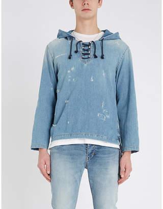 Saint Laurent Ripped lace-up denim hoody