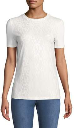 St. John Short-Sleeve Sequined-Front Viscose Jersey T-Shirt