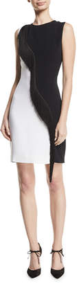 Cushnie et Ochs Two-Tone Cady Sleeveless Mini Dress w/ Asymmetric Fringe